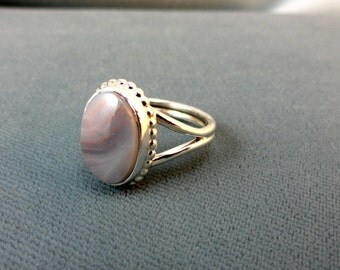 Oval Botswana Agate and Sterling Silver Ring