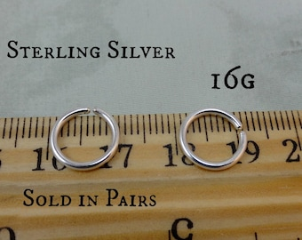 Sterling Silver 16g Tiny Endless Hoops
