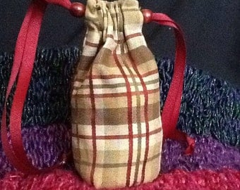 Red plaid coin/dice pouch