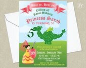 Princess Invitation - Dragon Invitation - Princess Birthday Invitation - Princess and Dragon Invitation  - Princess Invite