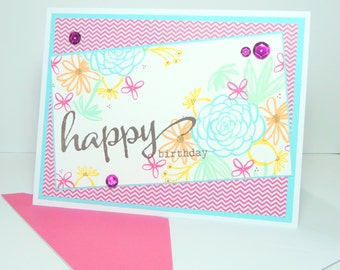 Happy Birthday Greeting Card - Hand Stamped Floral Handmade Paper Card for Her