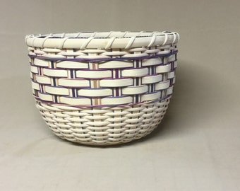 Hand Woven, Tall Round Bowl-Type Basket with Wood Base, Blue, Purple, and Tan Accent Colors