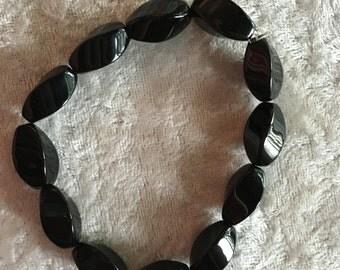 Black Onyx Bracelet, Beaded Bracelet, Stretch Bracelet, Gemstone Bracelet, Gift for Her, Natural Black Onyx, Black Onyx Jewelry