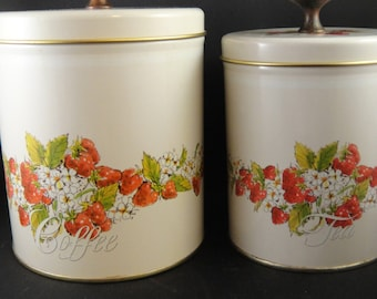Coffee and Tea Tin Canisters Strawberry Motif Pentron Industries 1981