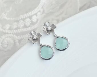 Mint Teardrop and Flower Stud Earrings, Bridesmaids Earrings, Mint Wedding Earrings, Mint Glass Teardrops and Matte Rhodium Plated Earrings