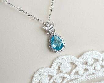 Aquamarine Starfish Necklace, Starfish Necklace, Cubic Zirconia Aquamarine Sarfish Necklace,Bridesmaids Necklace,Destination Wedding Jewelry