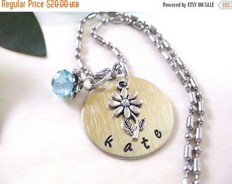 SALE Personalized Jewelry, Flower Necklace, Hand Stamped Jewelry, Personalized Flower Jewelry