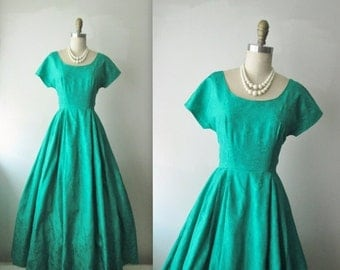 STOREWIDE SALE 50's Evening Gown // Vintage 1960's Emerald Brocade Full Cocktail Party Dress Mad Men Holiday Hostess Gown XS