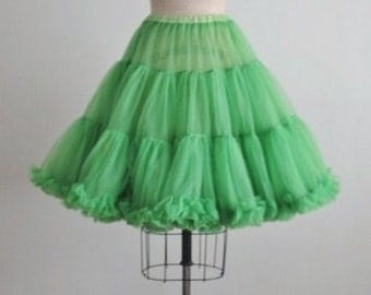 Vintage Crinoline // Green Chiffon Petticoat Crinoline Dress Slip Skirt XS S M L