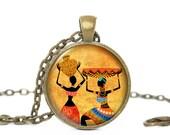 African Women Necklace, Africa Pendant, Afican Women with Basket pendant, Yellow necklace, Africa necklace , Black women, Gift for Women