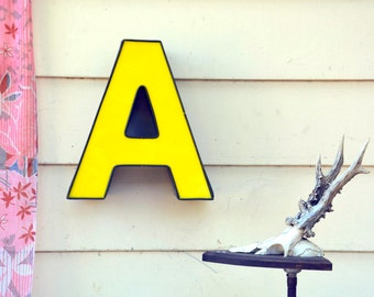 Vintage Marquee Sign Letter Capital 'AA': Large Yellow Wall Hanging Initial -- Industrial Neon Channel Advertising Salvage