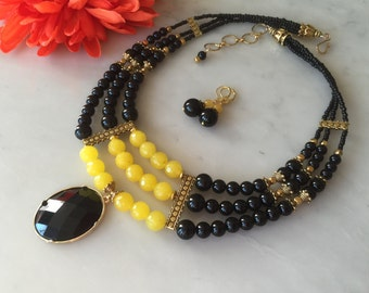 Yellow agate black onyx layered necklace, earrings, cascade, multi strand, pendant, natural gemstones, multistrand, handmade, beaded