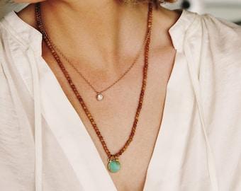 Sandalwood, Mala Necklace, Gemstone Pendant, Buddhist Necklace, Prayer Necklace, Spiritual