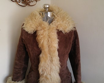 Vintage Fitted Shearling Coat 1970's Funky Hippie