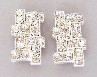 2 large clear crystal two hole slider beads, Art Deco style, geometric design spacer beads, bridal jewelry supplies