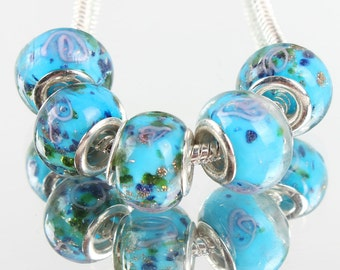 5 Pieces Silver Murano Glass Bead Lampwork Fit European Charm Beads 006