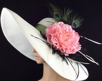 White Wedding Hat with Pink Flower and Green Peacock Feathers Fascinator