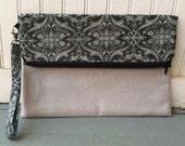 Fold Over Envelope Clutch Purse Bag, with Wristlet Strap & Zipper Closure - Black and gray art deco