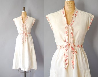 1930s Linen dress / Promenade Dress / early 30s