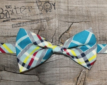 Vintage teal plaid bow tie, little boy bow tie - photo prop, wedding, ring bearer, accessory