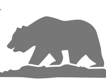 Cali Bear Stencil -- California State Flag