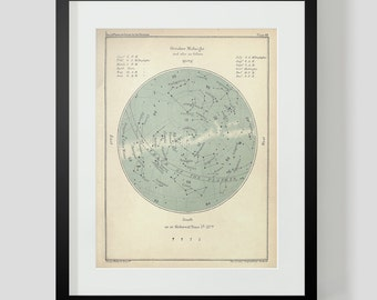 October Constellation Star Chart Popular Guide to the Heavens Art Print 48