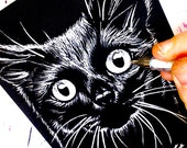 ORIGINAL Drawing Inktober 2016 - OOAK Black Kitty Cat Drawing