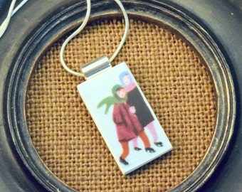Two Skaters on the Pond -  Recycled Broken China Plate Necklace - Gift Set