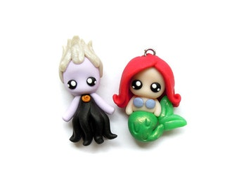 Sea Witch and Little Mermaid - Miniature Sculpture - Charm Figurine