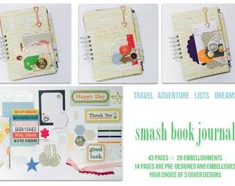 Scrapbook Smash Book . Travel Adventure Lists Mini Album Mixed Media Collage Art Journaling Gratitude Journal . Lister Listing Daybook Book