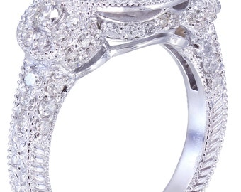 18K White Gold Round Cut Diamond Engagement Ring Deco Halo 2.50ctw H-VS2 EGL USA