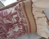 "Deep Red  Toile  Paris France Chic Burlap Trim ,Off White Ruffle  Pillow Cover 12 ""Sq."
