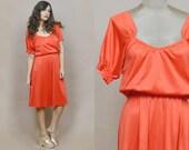 70s Disco Dress Red Orange Billowy Peasant Short Sleeve 1970s Midi Drape Dress Glam Shiny / Size M Medium