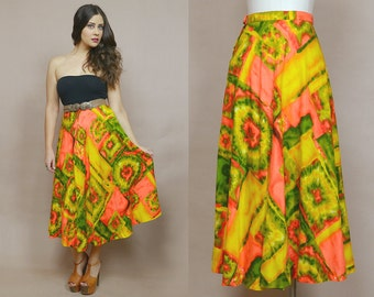 Tie Dye Skirt 70s Midi Neon Orange Green Psychedelic High Waisted Flared Skirt 1970s Hippie Graphic Bright Bohemian Boho / Size S Small