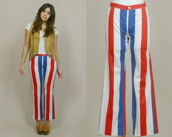 70s Striped Pants Red White Blue 4th of July 1970s Mod Mid Rise Flared Leg Patriotic Hippie American Flag / Size M Medium