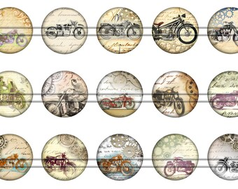 """Steam Punk Motorcycles Magnets, Steam Punk Motorcycle Pins Badges, 1"""" Inch Flat Backs, Hollow Backs, 12 ct, Set 3"""