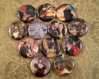 """Gone With the Wind Magnets, Gone With the Wind Pins, Gone With the Wind Wedding Favors, 1"""" Inch Flat Backs, Hollow Backs, Cabochons, 12 ct"""