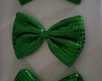 3 large kelly green printed sequin bows for crafting