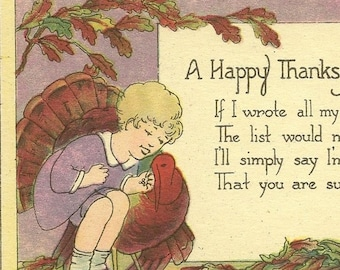 Vintage Thanksgiving Postcard Special Friendship Child and Turkey – Lovely Autumnal Colors on Unused Vintage Postcard
