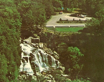 Aerial View Inglis Falls Owen Sound Ontario Unused Vintage Postcard Bruce Trail – Lovely Decal Edge circa 1950s