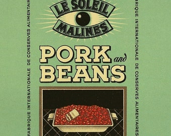 Vintage Can Label Le Soleil Malines PORK and BEANS Original Unused Can Label from Belgium Great Kitchen Art