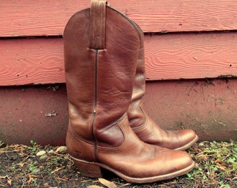 60s/70s Milk Chocolate Cowgirl Western Boho Riding Boots Mens 9.5 D Womens 11