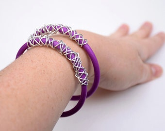 Polymer Clay Bangles - Purple and Silver Wire Wrapped Bracelets - Set of 2 - Stackable Jewelry