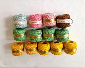 Crochet, Knitting, Embroidery, Crotch Stitch Pearl Cotton Thread – Size 5 – Star and J&P Coats Brand - Assortment of Colors - Set of 13