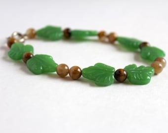 Green Leaves and Tiger Eye Bracelet