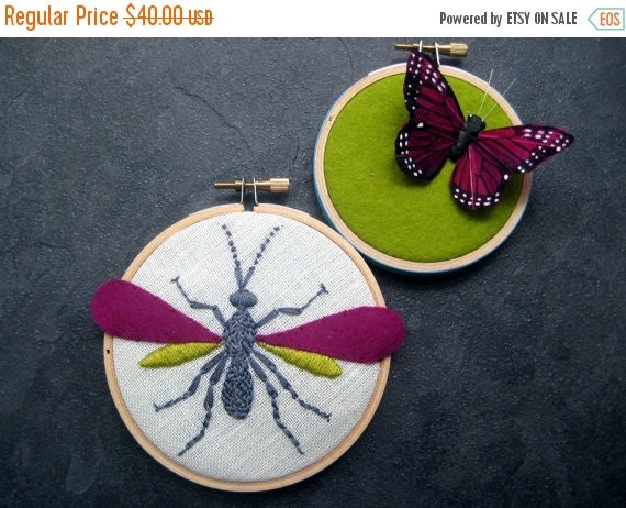Christmas in July Sale Wasp and Butterfly Hoop Art - hand embroidered home decor wall decoration by mlmxoxo