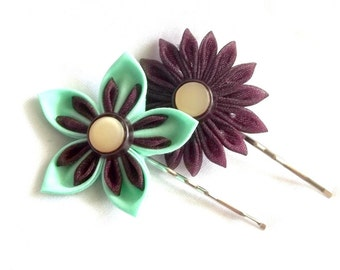 Mint and Plum Fiber Art Flowers Unique Hair Pins