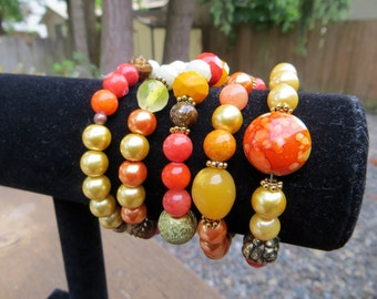 Beaded Memory Wire Coiled Wire Bracelet Orange Yellow Gold Wrap Wire Coiled Handmade Beaded Bracelet