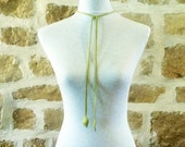 lime green leather handmade necklace with leaf design by Tuscada. Reserved for 'D'