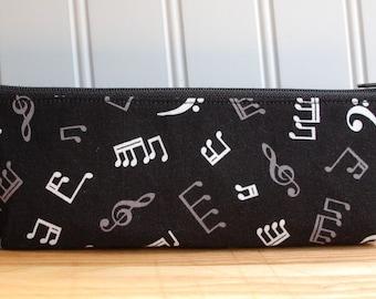 Music Pencil Case, Triangle Pencil Case, Back to School Supplies, College Supplies, Pencil Zipper Pouch, Cosmetic Bag